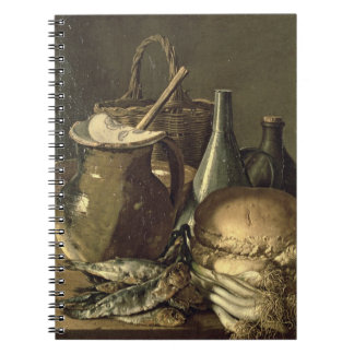 131-0058519/1 Still Life with Fish, Leeks and Brea Notebook