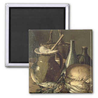 131-0058519/1 Still Life with Fish, Leeks and Brea Square Magnet
