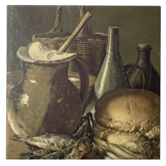 131-0058519/1 Still Life with Fish, Leeks and Brea Tile
