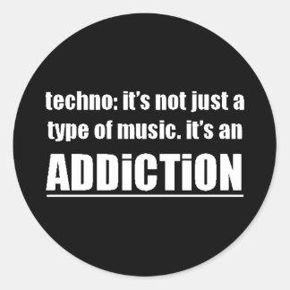 13770 techno type music addiction motto preference round sticker