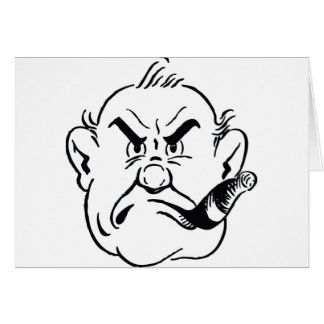 139-Grumpy-Man-Smoking-Cigar-Free-Retro-Clipart-Il Greeting Card