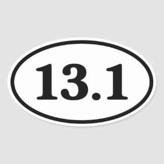 13.1 Half Marathon Runner Oval Oval Sticker
