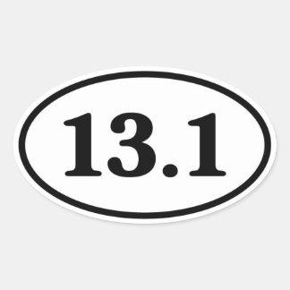 13.1 Half Marathon Runner Oval Stickers