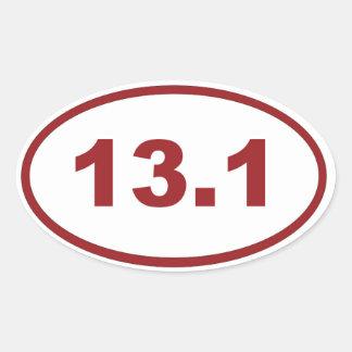 13.1 maroon red oval sticker