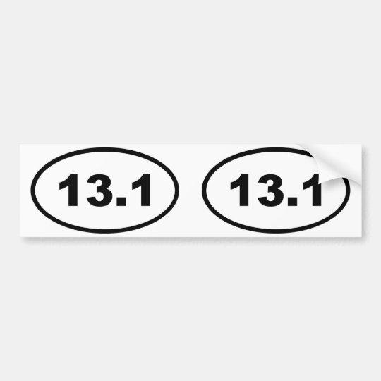 13.1 oval bumper sticker