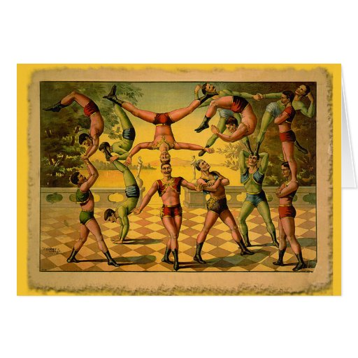 13 Acrobats Old Circus Poster on Tshirts Greeting Card