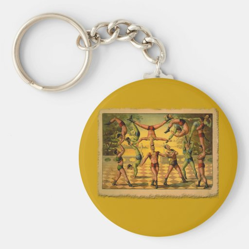 13 Acrobats Old Circus Poster on Tshirts Keychain