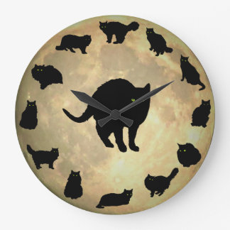 13 Black Cats and a Full Moon Large Clock