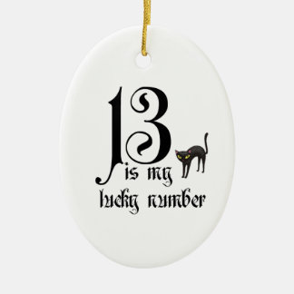 13 is my lucky number+cat ceramic oval decoration