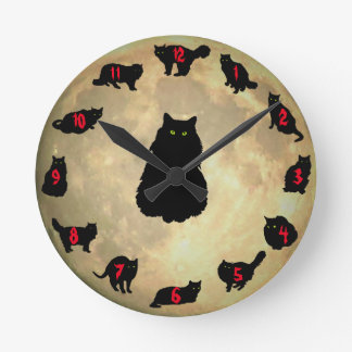 13 Lucky Cats and the Moon (red number addition) Round Clock