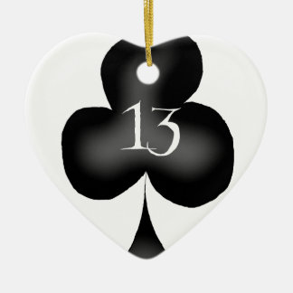 13 of clubs ceramic heart decoration