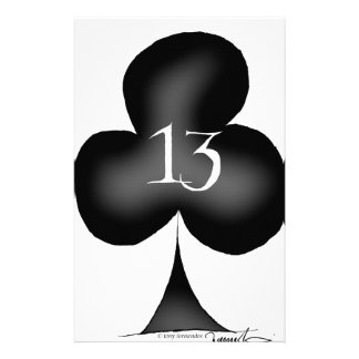 13 of clubs customized stationery