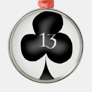 13 of clubs Silver-Colored round decoration