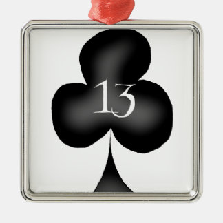 13 of clubs Silver-Colored square decoration