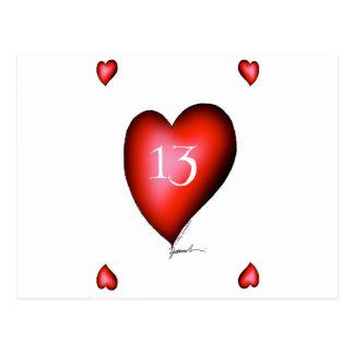 13 of Hearts Postcard