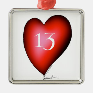 13 of Hearts Silver-Colored Square Decoration