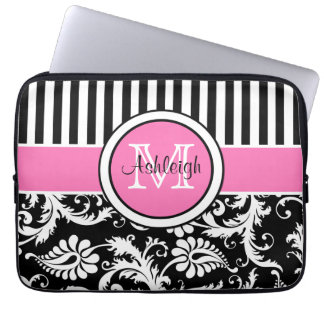 "13"" Pink Black White Damask Striped Laptop Sleeve"