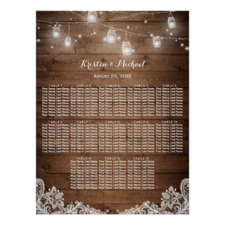 13 Tables Rustic String Lights Seating Chart