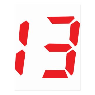13 thirteen  red alarm clock digital number postcard