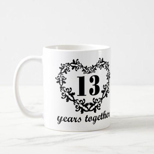 13 Year Wedding Gift: 13th Anniversary 13 Years Together Heart Gift Mug