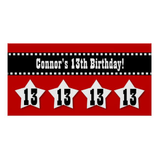 13th Birthday Banner with Stars Custom Name V13S Print