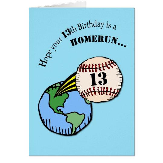 13th Birthday Baseball Home Run Card