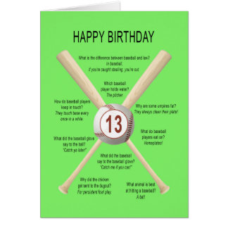 13th birthday baseball jokes card