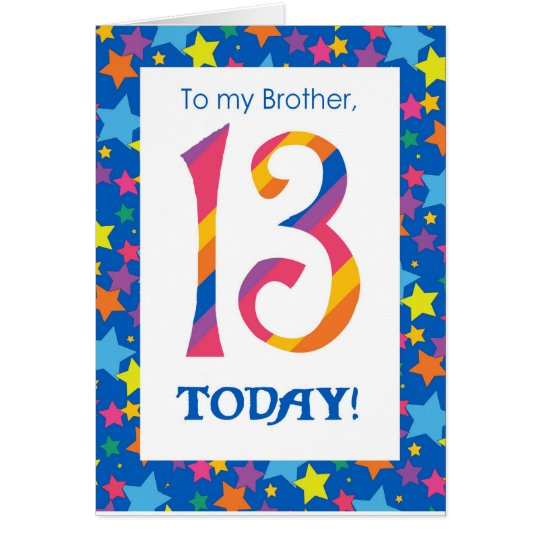 13th Birthday Card for Brother, Stripes and Stars