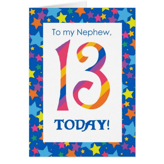 13th Birthday Card for Nephew, Stripes and Stars