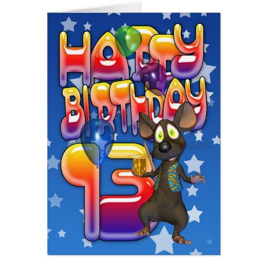 13th Birthday Card, Happy Birthday Card