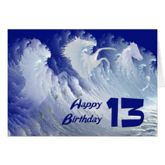 13th birthday card with wild white surf horses