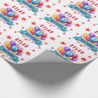 13th Birthday Festive Balloons and Red Stars 102Z Wrapping Paper