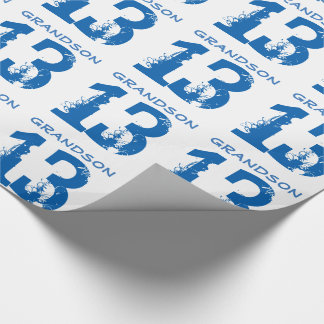13th Birthday for a grandson, blue text on white. Wrapping Paper