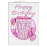 13th Birthday Gift Box - Pink - Happy Birthday Greeting Card