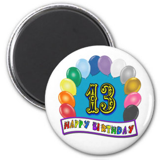 13th Birthday Gifts with Assorted Balloons Design Refrigerator Magnets