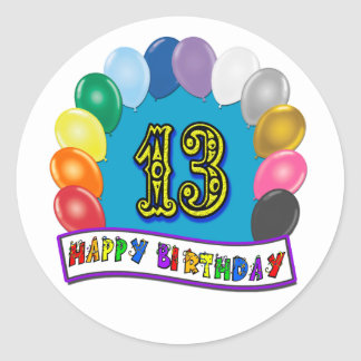 13th Birthday Gifts with Assorted Balloons Design Round Sticker