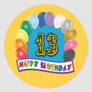 13th Birthday Gifts with Assorted Balloons Design Round Stickers