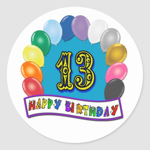 13th Birthday Gifts with Assorted Balloons Design Stickers