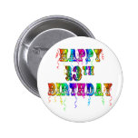 13th Birthday Gifts with Circus Balloon Font 6 Cm Round Badge