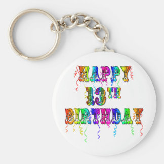 13th Birthday Gifts with Circus Balloon Font Basic Round Button Key Ring