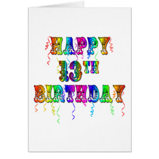 13th Birthday Gifts with Circus Balloon Font Card