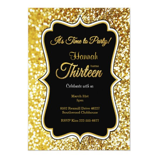 13th birthday invitation in black and gold