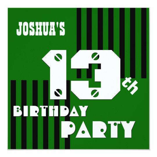13th Birthday Modern Teen Green Black Stripes V10 Card