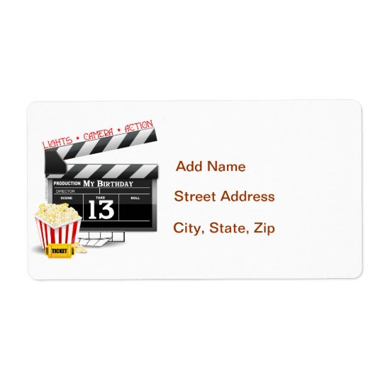 13th Birthday Movie Party Shipping Label