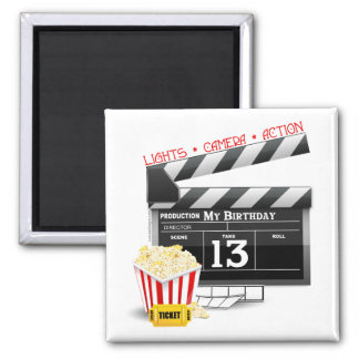 13th Birthday Movie Party Square Magnet