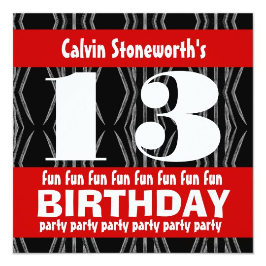 13th Birthday Party Black Red White Contemporary Card