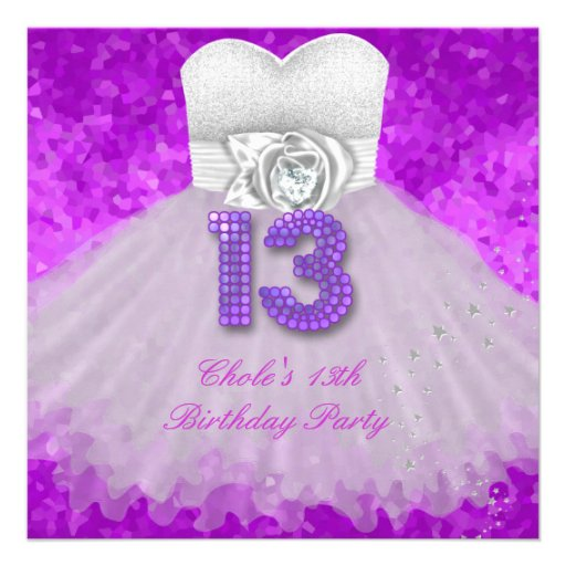 13th Birthday Party Girls 13 Teen Purple Custom Announcement