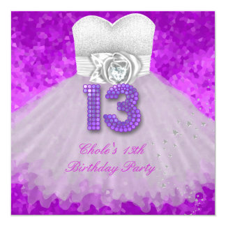 13th Birthday Party Girls 13 Teen Purple 5.25x5.25 Square Paper Invitation Card