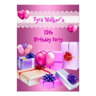 Girls 13th Birthday Party Invitations, 800 Girls 13th Birthday Party Invites & Announcements ...