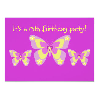 13th Birthday Party Invitation, Butterflies 13 Cm X 18 Cm Invitation Card